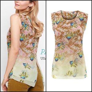 CAbi Parlor Floral Print Layered Blouse Top 5216